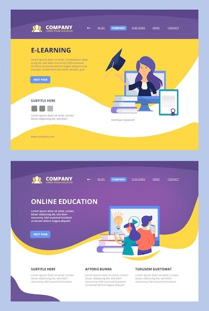 Cursos online. landing web learning training center escola universidade internet distância consultor modelo de página de site de negócios Vetor Premium