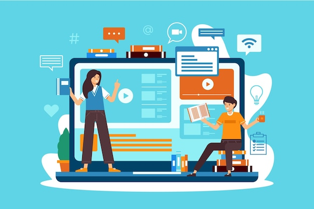 Cursos online para alunos em quarentena Vetor Premium