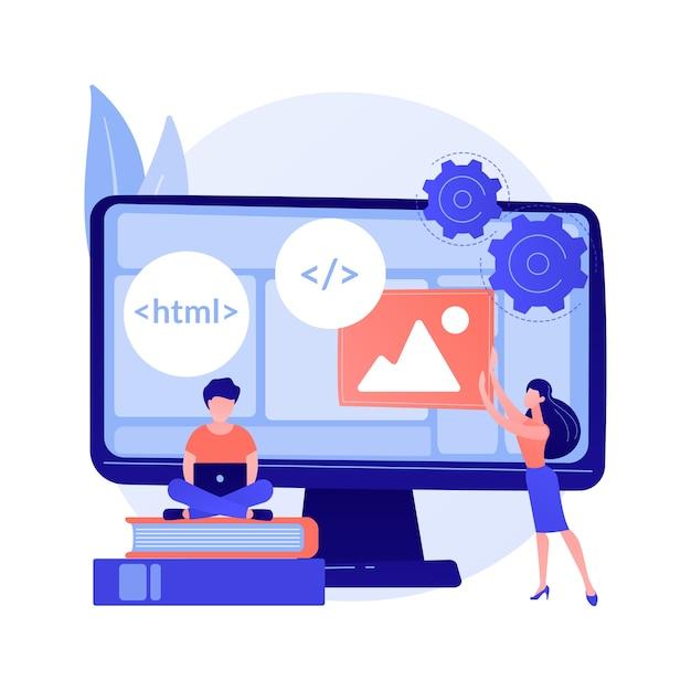 Cursos Para Desenvolvedores Web Programacao De Computadores Web Design Script E Estudo De Codificacao Componentes Da Estrutura Da Interface De Aprendizagem Do Aluno De Ciencia Da Computacao Vetor Gratis