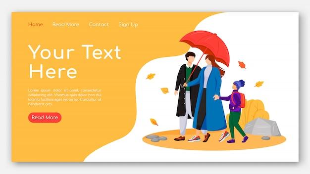 Curta página de aterrissagem familiar modelo de vetor de cor plana. pais com layout de página inicial filho. design do site Vetor Premium