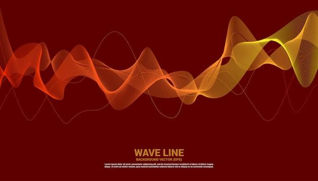 Curva alaranjada da linha da onda sadia no fundo vermelho. Vetor Premium