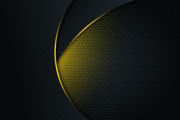 Curva de linha de luz amarela abstrata no fundo futurista moderno de design de espaço em branco escuro cinza Vetor Premium