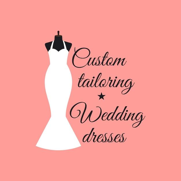 Custom costurando vestidos de noiva logo Vetor Premium