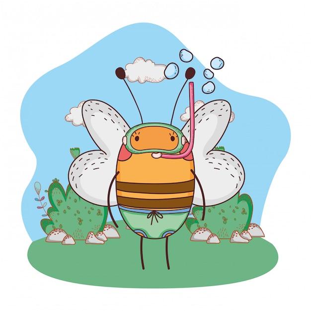 Cute abelhinha com snorkel no acampamento Vetor Premium