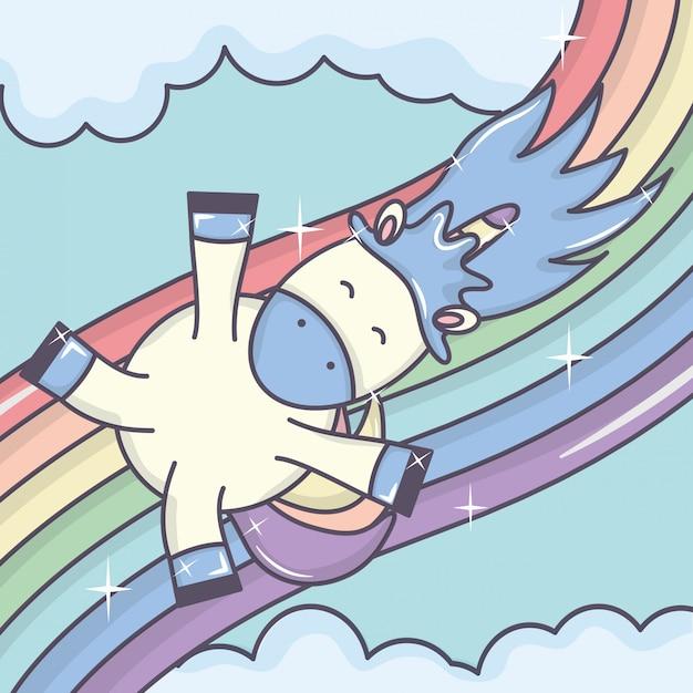 Cute adorável unicórnio com nuvens e arco-íris Vetor grátis