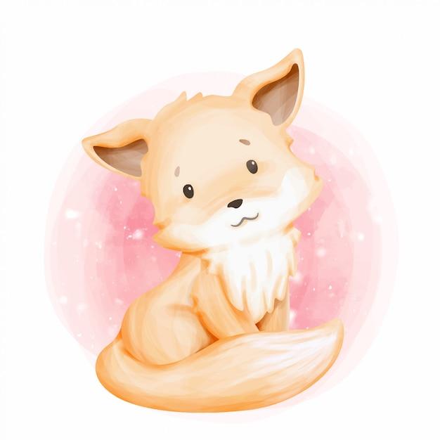 Cute animal little fox aquarela Vetor Premium