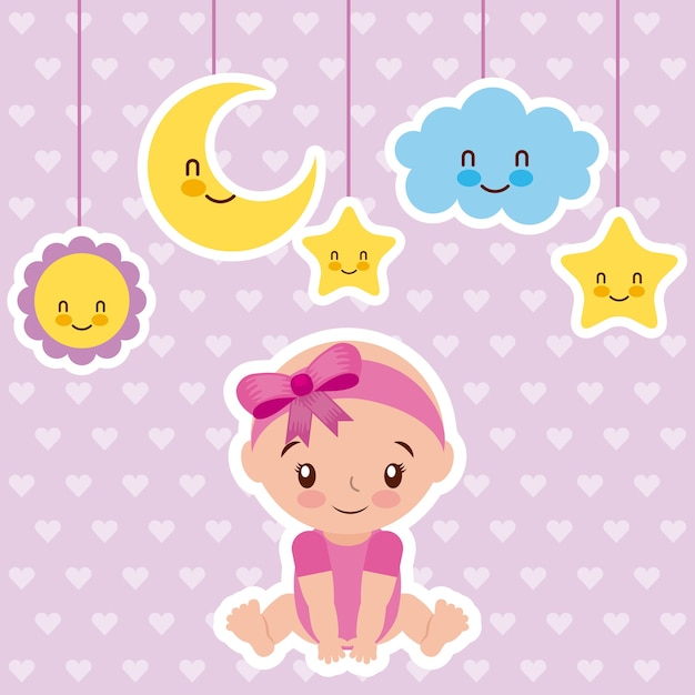 Cute Baby Girl Sentado Com A Estrela Da Nuvem De Desenho E Lua