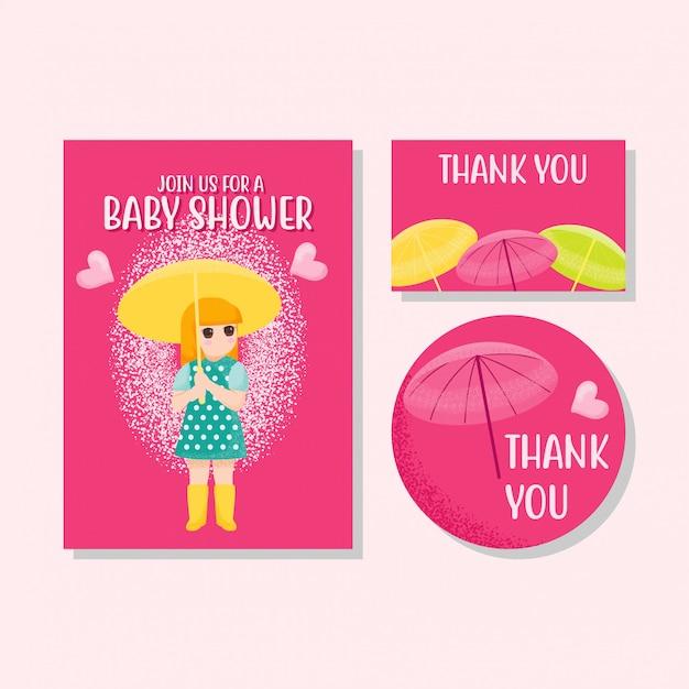 Cute card kids invitation cartão de agradecimento menino menina mão desenhada Vetor Premium