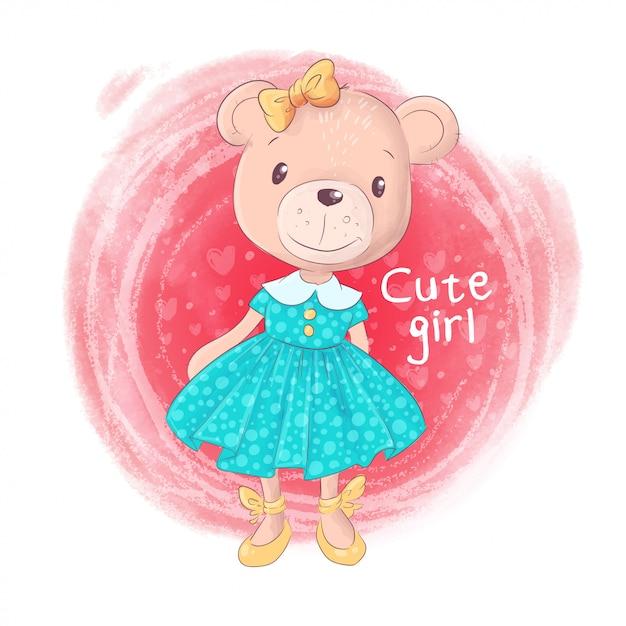 Cute, caricatura, urso teddy, menina, ligado, um, cor-de-rosa, fundo Vetor Premium