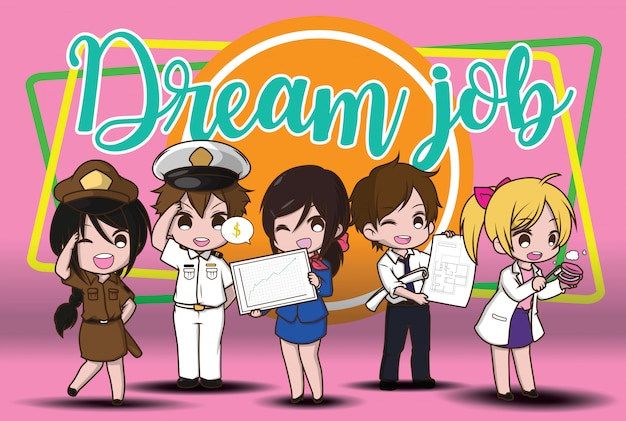 Cute cartoon character sonho de trabalho Vetor Premium