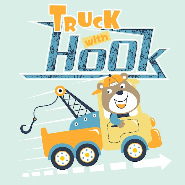 Cute cartoon truck driver Vetor Premium