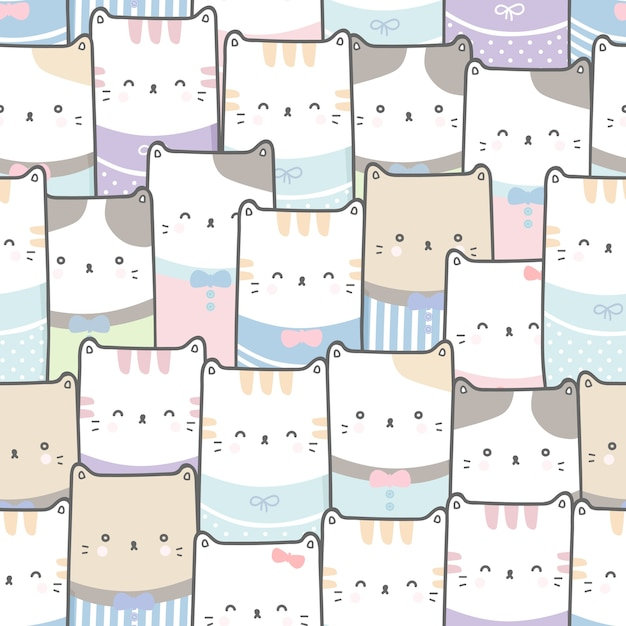 Cute cat cartoon doodle pastel sem costura padrão papel de parede Vetor Premium
