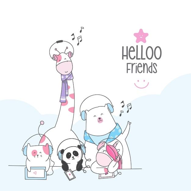 Cute character animal cartoon desenho de estilo Vetor Premium