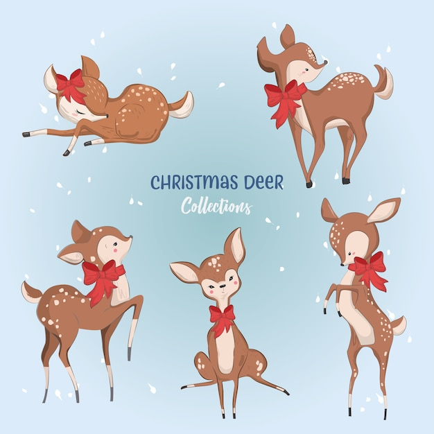 Cute christmas deer collections Vetor Premium