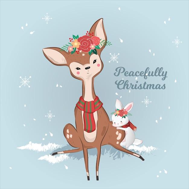 Cute deer and rabbit no natal Vetor Premium