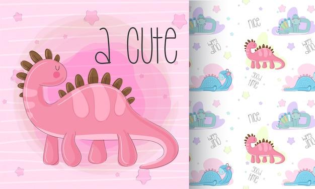 Cute, dinossauro, padrão, jogo, mão, desenhar, ilustração Vetor Premium
