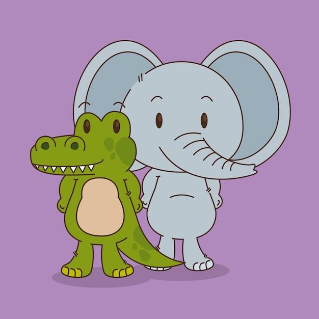 Cute e pequenos personagens de elefante e crocodilo Vetor Premium