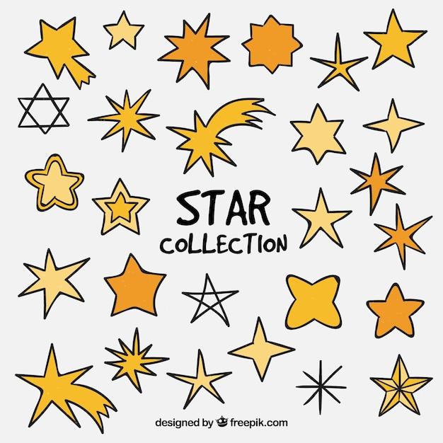 Cute estrelas coleção Vetor grátis