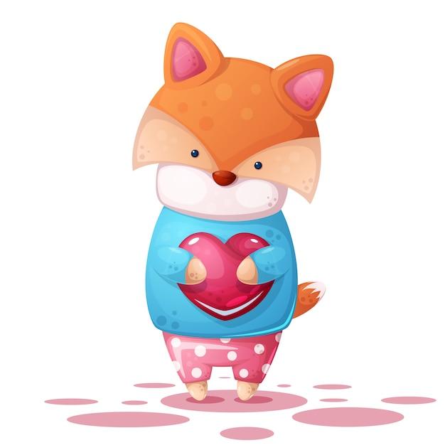 Cute fox e coração illutration. Vetor Premium