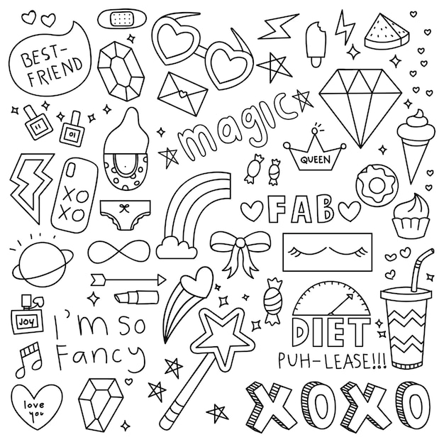 Cute girl things doodle elemento Vetor Premium