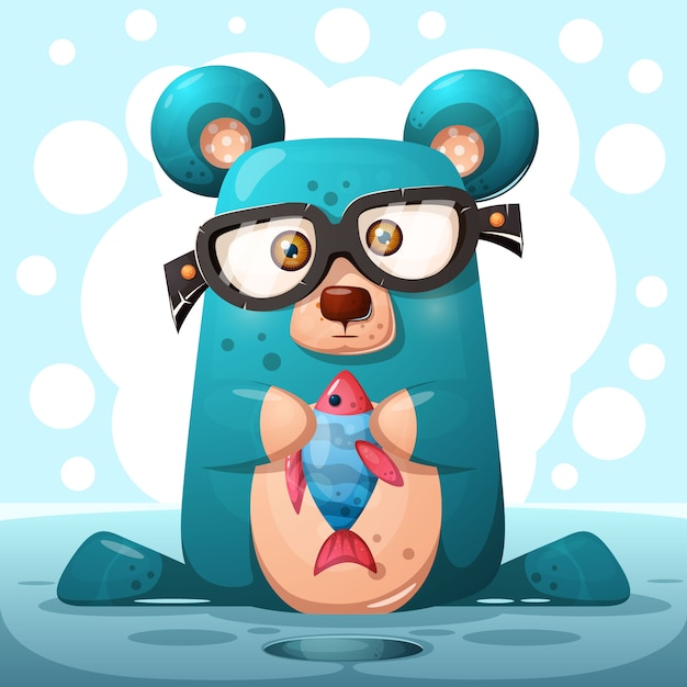 Cute glasses bear com peixe Vetor Premium