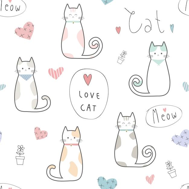 Cute kitten cat cartoon doodle padrão sem emenda Vetor Premium