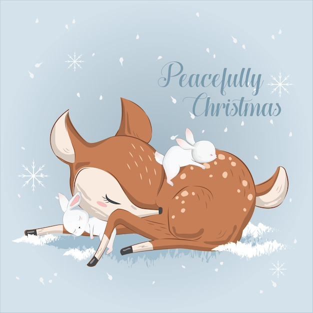 Cute little deer dormindo pacificamente Vetor Premium