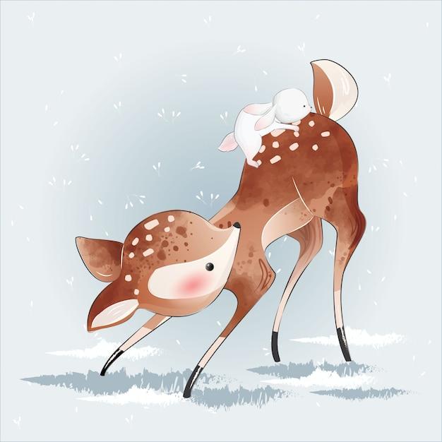 Cute little deer e seu amigo Vetor Premium