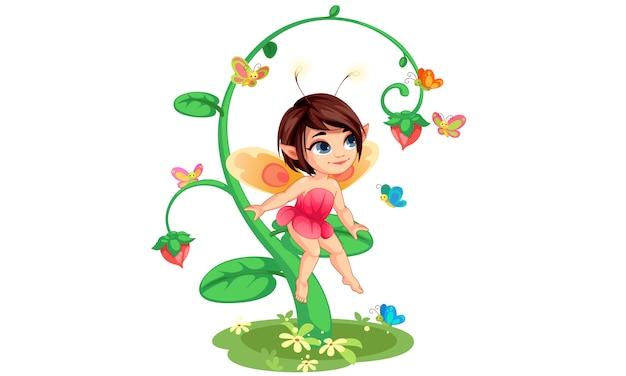 Cute little flower fairy sentado Vetor Premium