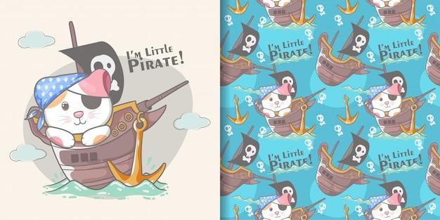 Cute little pirata gato sem costura padrão e ilustração cartão Vetor Premium
