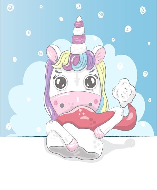 Cute little unicorn cartoon mão desenhada Vetor Premium