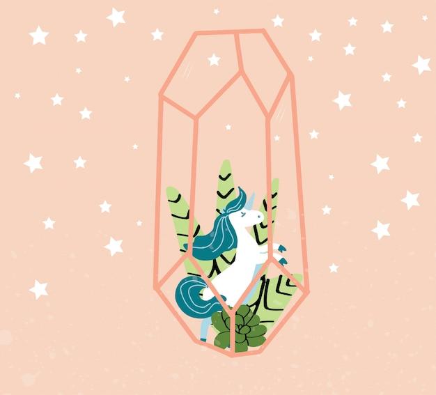 Cute, magia, unicórnio, ilustração Vetor Premium