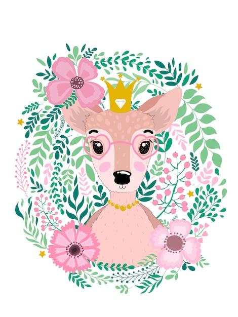 Cute mão desenhada animal fulvo cervos Vetor Premium