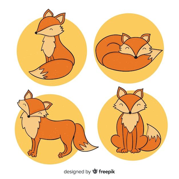 Cute, mão, desenhado, raposa, cobrança Vetor grátis