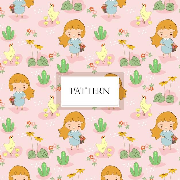 Cute, menina, reunião, flor, com, cute, galinha, família Vetor Premium