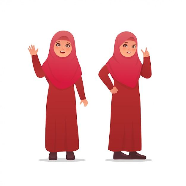 Cute, menininha, desgastar, hijab, véu, vestido, personagem, desenho Vetor Premium