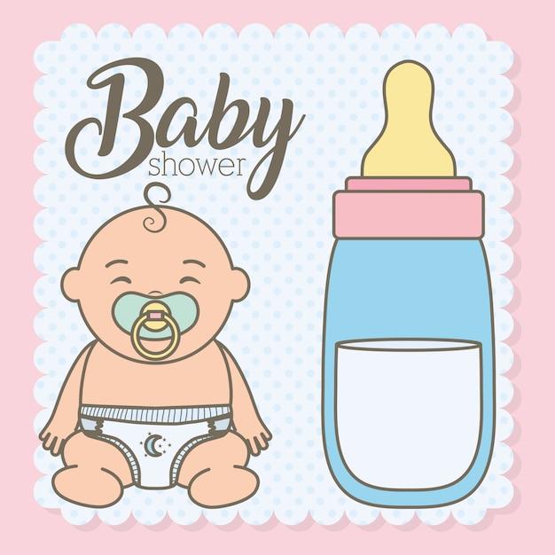 Cute, menino bebê, com, garrafa, leite Vetor grátis