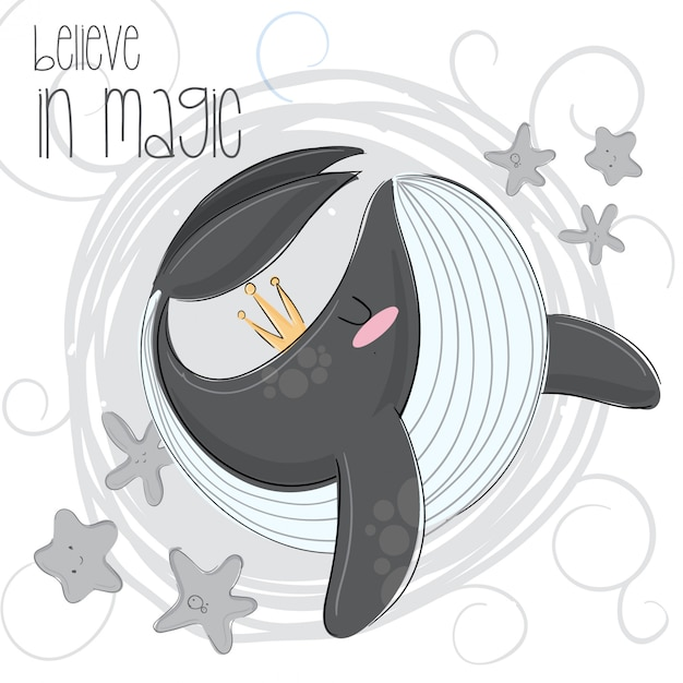 Cute orca hand draw illustration Vetor Premium