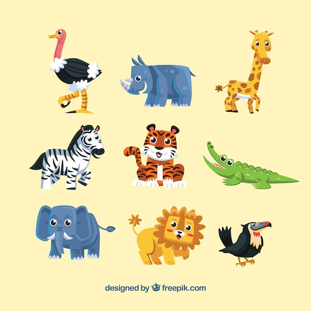 Cute pack of smiley wild animals Vetor grátis