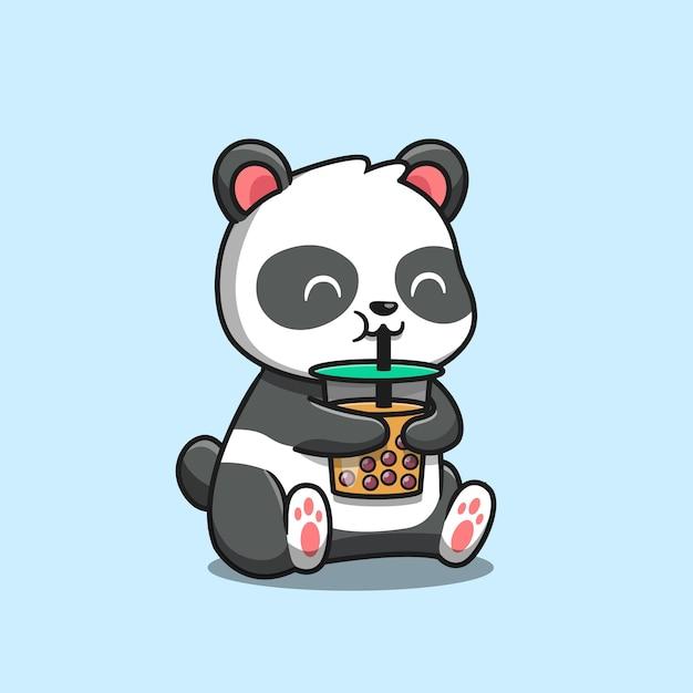 Cute panda bebericando boba milk tea icon ilustração dos desenhos animados. conceito de ícone de comida animal isolado. estilo flat cartoon Vetor grátis