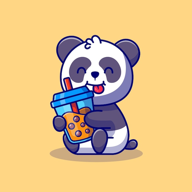 Cute panda holding boba milk tea ícone dos desenhos animados ilustração animal drink icon concept premium. estilo flat cartoon Vetor Premium