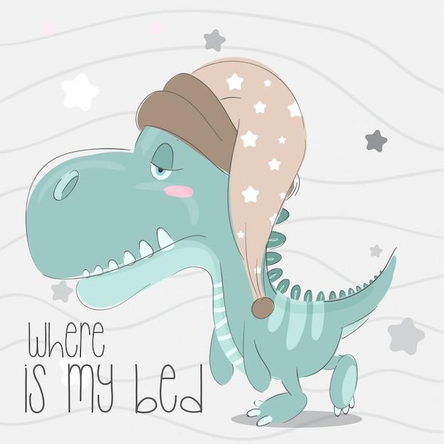 Cute, pequeno, dinossauro, mão, desenhado, animal, ilustração-vector Vetor Premium