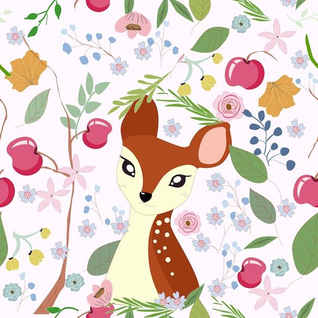Cute, pequeno, veado, em, maçã, ramo, quadro Vetor Premium
