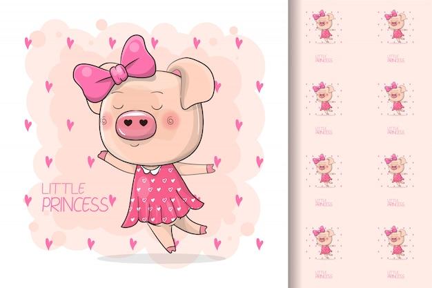 Cute piggy girl isolado em um fundo rosa Vetor Premium