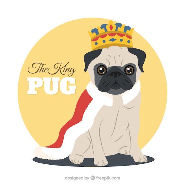 Cute pug with king costume Vetor grátis