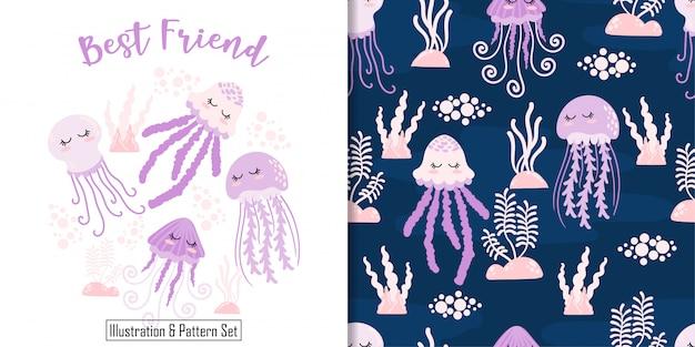 Cute, sono, medusa, cartão, mão, desenhado, seamless, padrão, jogo Vetor Premium