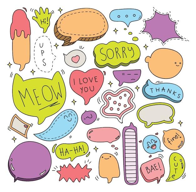 Cute speech bubble doodle conjunto de ilustração vetorial Vetor Premium