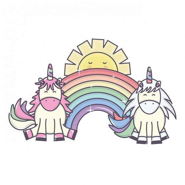 Cute unicórnios e arco-íris adoráveis Vetor grátis
