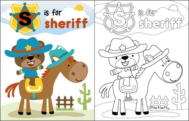 Cute, xerife, caricatura, montando, cavalo Vetor Premium