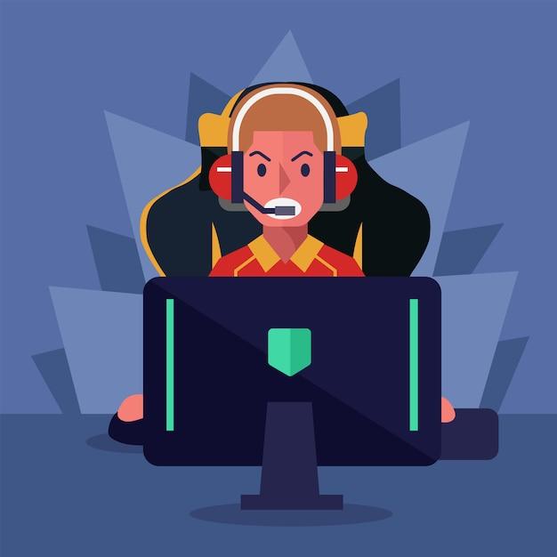 Cyber e-sport player Vetor Premium